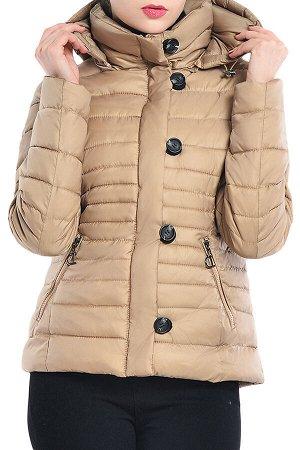 Бежевая приталенная куртка с капюшоном и косыми карманами