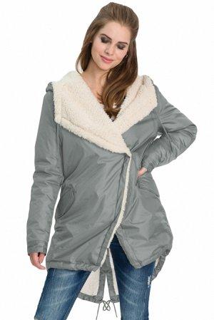 Серая зимняя куртка с бежевой меховой подкладкой