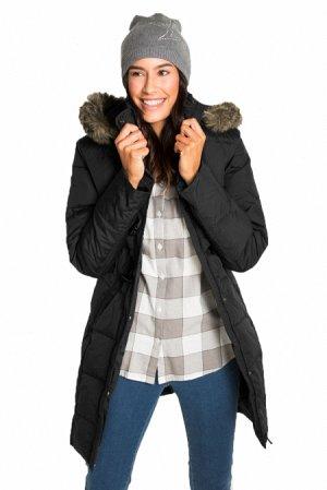 Черная куртка-зефирка с карманами и мехом на капюшоне