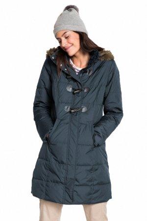 Темно-серая куртка-зефирка с карманами и мехом на капюшоне