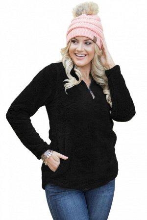 Черный флисовый пуловер с воротом на молнии и боковыми карманами