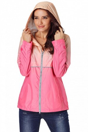 Розово-коралловая ветровка на молнии и с капюшоном