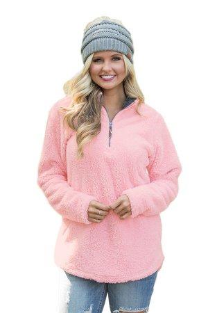 Розовый флисовый пуловер с воротом на молнии и боковыми карманами