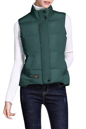 Темно-зеленый стеганый жилет с косыми карманами