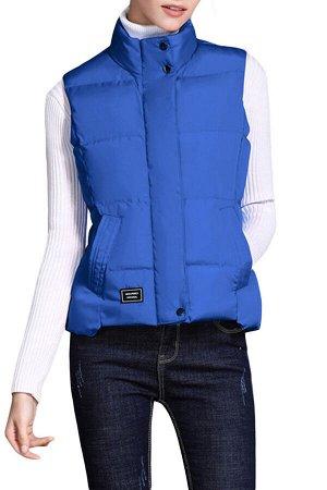 Ярко-синий стеганый жилет с косыми карманами