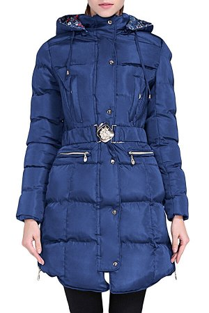 Синяя удлиненная куртка с поясом и капюшоном
