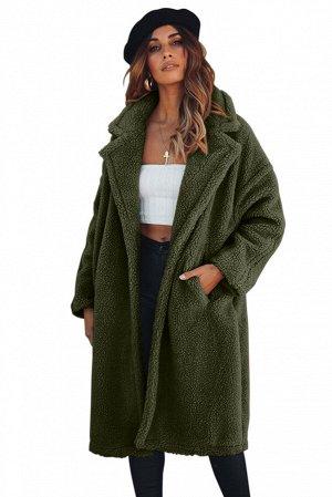 Темно-зеленое меховое пальто с отложным воротником и карманами