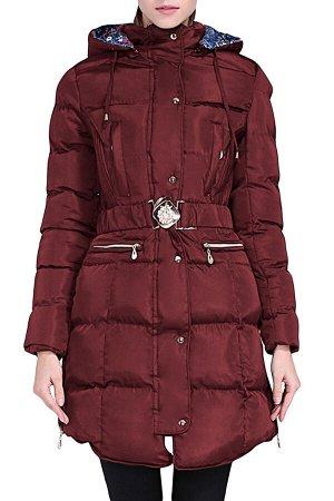 Бордовая удлиненная куртка с поясом и капюшоном