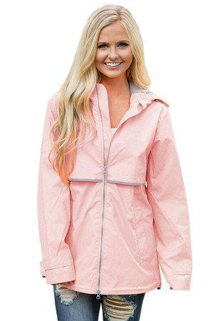Светло-коралловая спортивная куртка с капюшоном и светоотражающими элементами