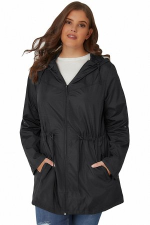 Черная куртка-парка с капюшоном и карманами