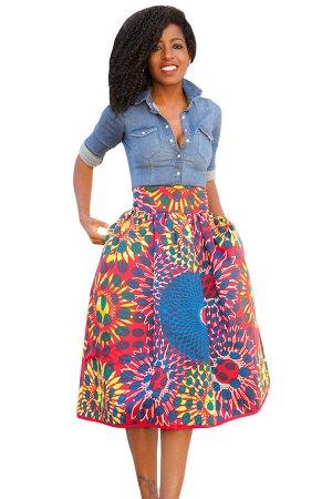 Винтажная юбка А-силуэта с завышенной талией и ярким калейдоскопичным принтом