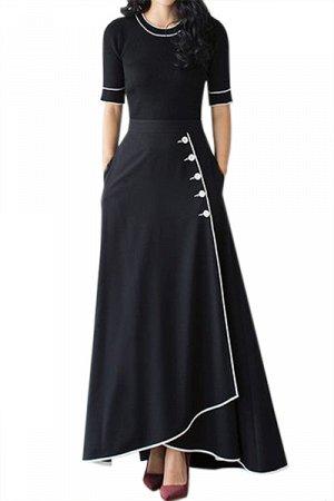 Черная юбка с запахом на пуговицах