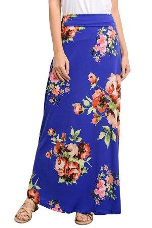 Синяя расклешенная макси юбка с ярким цветочным принтом