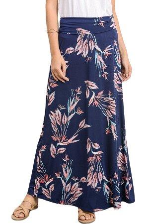 Темно-синяя макси юбка с розовым растительным узором