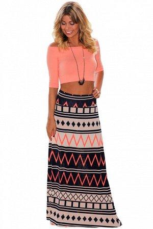 Длинная юбка-трапеция с геометрическим орнаментом