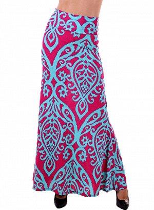 Розовая расклешенная макси юбка с голубым дамасским узором