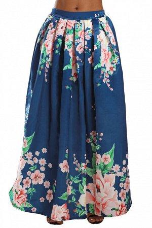Темно-синяя с коралловыми цветами расклешенная юбка в пол
