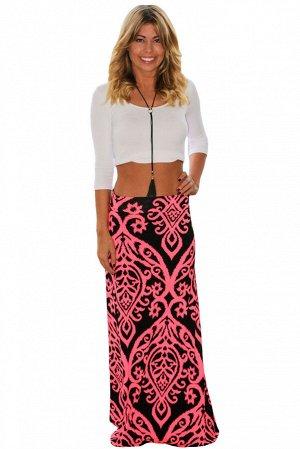 Черная макси юбка-трапеция с коралловым орнаментом