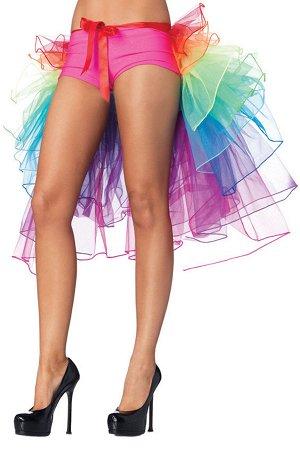 Разноцветная шифоновая юбка с оборками и завязками спереди