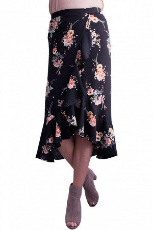 Черная в цветы юбка миди с запахом и воланом