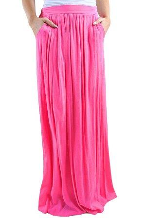 Розовая шифоновая макси юбка на резинке со сборками и карманами