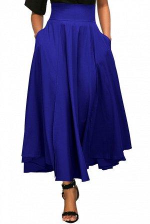 Синяя расклешенная юбка с поясом-бантом в ретро стиле