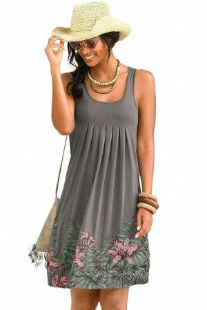 Серое пляжное платье-сарафан с цветочным принтом