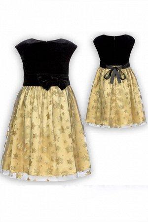 Нарядное платье. Черный бархат, золото и вуаль. Пеликан