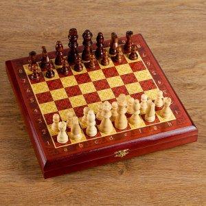 "Шахматы ""Тёмно-красная классика"" (доска дерево 30х30 см, фигуры дерево, король h=8 см)"