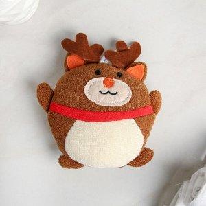 Мочалка детская «Оленёнок», цвет коричневый