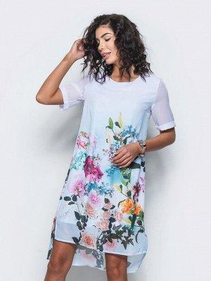 Платье Материал: Шифон; Состав: 100% полиэстер; Растяжимость: нет Платье прямого кроя с цветочным принтом - тренд, не теряющий свою актуальность. Модель из струящегося шифона с подкладкой из трикотажн