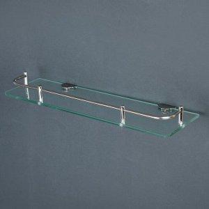 Полка для ванной комнаты, 40?12?6 см, нержавеющая сталь, стекло