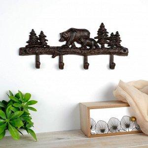 "Крючки декоративные металл ""Медведь с медвежонком в лесу"" 14,5х33х2,5 см 4145451"