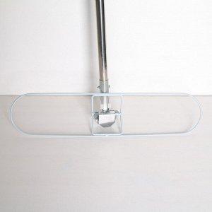 Швабра плоская Доляна, телескопическая стальная ручка 129 см, широкая х/б насадка 55?13 см