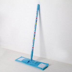 Швабра плоская Доляна «Цветочки», телескопическая ручка 68-121 см, насадка микрофибра 42?12 см, цвет МИКС
