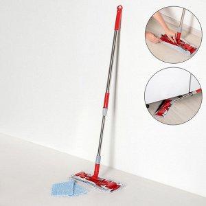 Швабра плоская Доляна, телескопическая стальная ручка 86-120 см, насадка из микрофибры 34?14 см