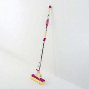 Швабра PVA с двойным роликовым отжимом Доляна, телескопическая стальная ручка 96-125 см, насадка 27?6 см цвет МИКС