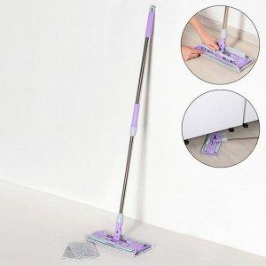 Швабра плоская Доляна, телескопическая стальная ручка 76-119 см, 2 насадки из микрофибры 35,5?14,5 см, цвет серо-фиолетовый