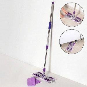 Швабра плоская Доляна, телескопическая стальная ручка 74-109 см, насадка из микрофибры 40?12 см, цвет МИКС