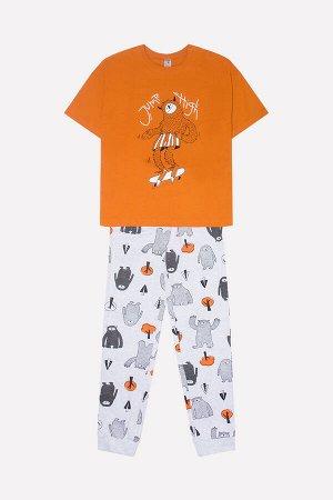Комплект для мальчика КБ 2620 оранжевый + йети на меланже
