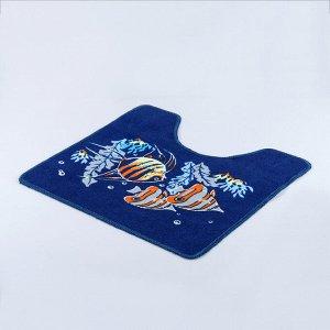 Набор ковриков для ванны и туалета Доляна «Подводный мир», 2 шт: 45?48, 58?78 см
