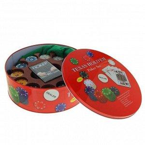 Покер, набор для игры (карты 2 колоды, фишки 240 шт с номин, сукно 60х90 см), микс