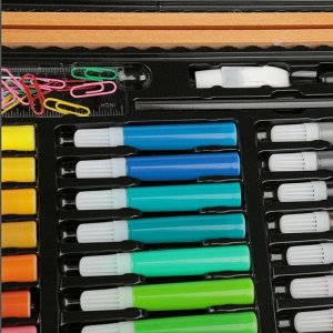 Набор для рисования в деревянном пенале, 150 предметов