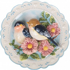 Тарелка настенная декоративная 'птицы на яблоневой ветке' диаметр=20 см (кор=24шт.)