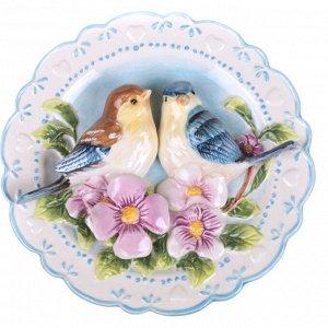 Тарелка настенная декоративная 'птицы на шиповнике' диаметр=20 см высота=4 см (кор=24шт.)