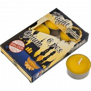 Набор плавающих свечей из 6 шт.'опиум' диаметр=4 см.высота=2 см.(кор=24набор.)