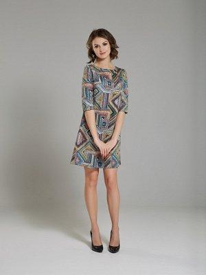 Платье замшевое принт разноцветный