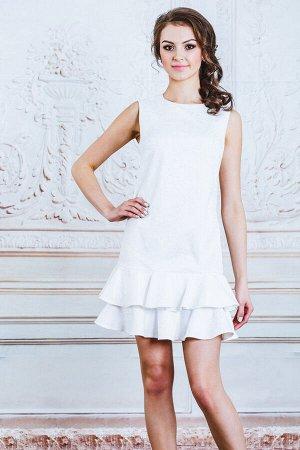 Платье белое воланы
