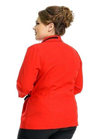 Пиджак Материал: Креп, эластан; Фасон: Пиджак Пиджак с запАхом с черными полосками красный Материал-Креп. эластан Состав ткани: 71%-Вискоза 27%-полиэстер 2%-эластан