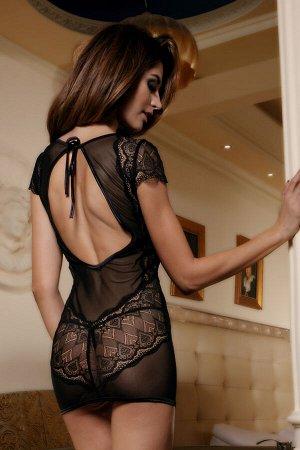 Платье со стразами Candy Girl Estelle и стринги, чёрные, XL